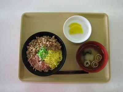 昼食(三色丼)